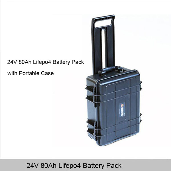 24V 80Ah Lifepo4 Battery Pack with portable waterproof case