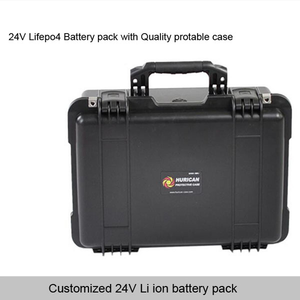 24V Lifepo4 Battery Pack with portable waterproof battery case