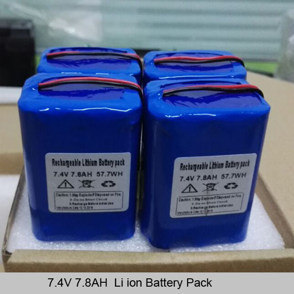 7.4V 7.8AH lithium ion battery pack-2S3P